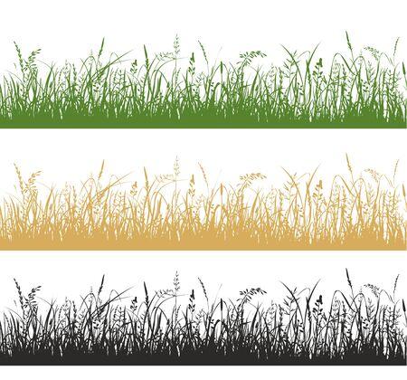 Set di illustrazioni di silhouette di piante di erba e prato Vettoriali