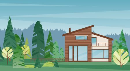 Modern wooden house colorful flat vector illustration