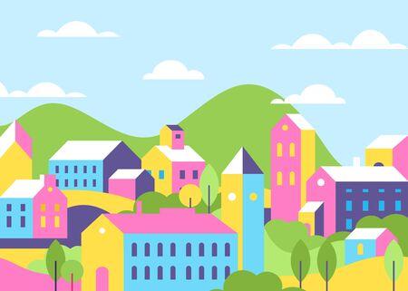 Town houses architecture bright color flat vector illustration Ilustração