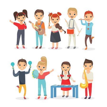 Kids playing musical instruments flat vector illustrations set. Schoolchildren holding guitar, saxophone, percussion isolated on white background. Children music performance. School concert