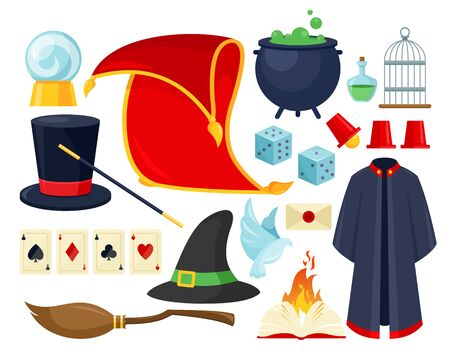 Ensemble d'illustrations vectorielles à plat coloré d'accessoires de magicien. Équipement de spectacle de magie, outils de performance illusionniste et objets isolés sur fond blanc. Chapeau de magicien, manteau de mage, boule magique