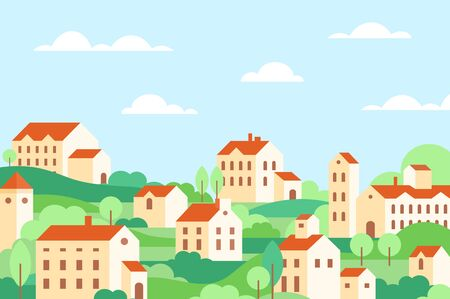 Town houses architecture colorful flat vector illustration. Countryside buildings, cottage facades, residential real estate. Home exterior. Green hills with trees. Suburbs scenery , landscape