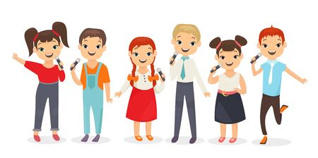 Kids singing song flat vector illustrations set. Schoolchildren holding microphones isolated on white background. Schoolboys and schoolgirls band performance. School concert, music lesson
