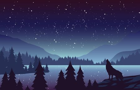Wolf in mountains landscape flat vector illustration. Night nature scenery with fir trees and hills on horizon. Animal howling at full moon. Stars in sky. River in woods scene cartoon background