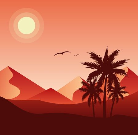 Sunset in desert colorful flat vector illustration. Palm trees silhouettes and sand dunes, pyramids on background. Beautiful evening nature, wilderness landscape, birds flying in red sky Illusztráció
