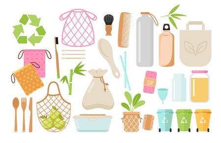 Zero waste and eco friendly items flat vector illustrations set. Plastic free containers and hygiene things isolated pack. Textile shopping bag, bamboo comb icons. Bins for garbage sorting