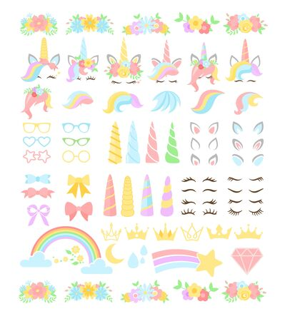 Unicorn flat vector constructor kit illustrations set. Girly, childish stickers isolated pack. Fantasy horse with horn and stripy multicolor hair. Eyelashes, ears, flowers, rainbows design elements