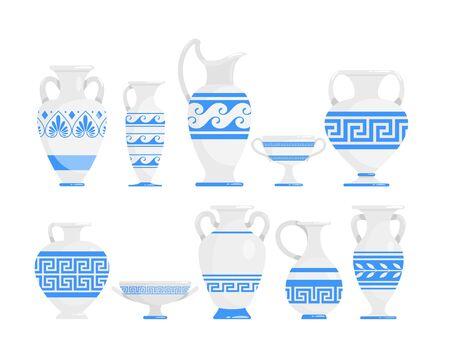 Ensemble d'illustrations vectorielles à plat bleu et blanc de vases grecs. Amphore antique en céramique avec collection de motifs. Pots et bols de la Grèce antique. Ustensiles de cuisine avec pack d'éléments de conception isolés ornement