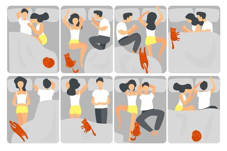 Woman and man sleeping poses flat vector illustrations set. People and cat asleep. Boyfriend and girlfriend cartoon characters relaxing. People resting in bed in different positions collection Vetores