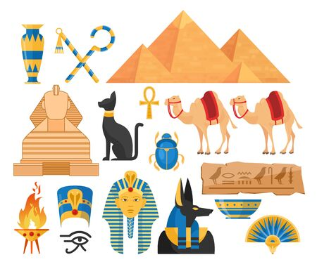 Ancient egypt symbols cartoon colorful vector illustrations set Ilustração