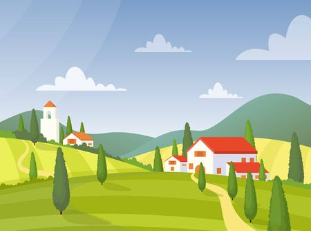 Modern village house flat vector illustration. Italy farmland buildings at green meadow. Countryside houses exterior. Cottages on nature. Pasture, farm fields and blue sky scenery. Villa facades Illusztráció