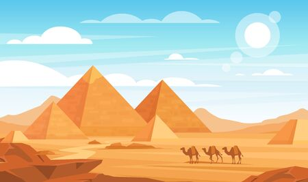 Pyramids in desert flat vector illustration. Egyptian landscape panoramic cartoon background. Bedouin camels caravan and Egypt landmarks. African nature scenery. Animals and sand dunes