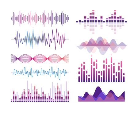 Sound waves vector color illustrations set. Audio effects visualization. Music player equalizer. Song, voice vibration. Violet lines and curves isolated design elements pack. Soundtrack rhythm
