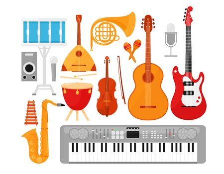Music instruments flat vector illustrations set. Acoustic and electric guitars isolated on white background. Percussion, string and wind instruments pack. French horn, synthesizer, violin, drums