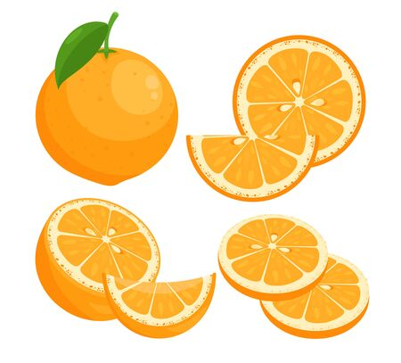 Oranges flat vector illustrations set. Juicy ripe citrus whole in peel with leaf isolated pack on white background. Summer natural fresh fruit slices with seeds design elements collection. 向量圖像