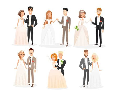 Wedding couples flat vector illustrations set. Bride and groom cartoon characters pack. Engagement ceremony. Woman in white bridal dress with veil and man in festive costume. Newlyweds collection.