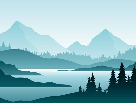 Forest foggy landscape flat vector illustration. Nature scenery with fir trees and hill peaks silhouettes on horizon. Mountain valley and river in early morning scene cartoon background