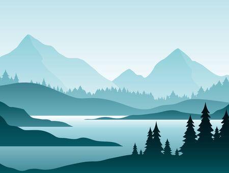 Illustration vectorielle plane de forêt paysage brumeux. Paysages naturels avec des sapins et des silhouettes de sommets à l'horizon. Vallée de montagne et rivière en fond de dessin animé de scène tôt le matin