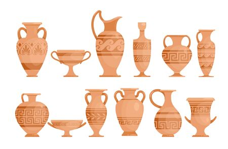 Greek vases flat vector illustrations set. Ceramic antique amphora with patterns collection. Ancient Greece potter with ornament isolated design elements pack. Çizim