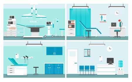 Hospital rooms flat vector illustrations set. Doctor office cartoon interior design pack. Medical center waiting room and corridor, patient ward collection. Operating theater equipment and bed