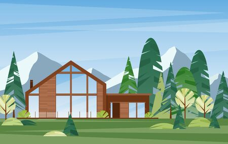 Modern village house flat vector illustration. Contemporary wooden building in coniferous forest. Countryside home exterior. Dwelling in woodland. Hut on nature. Villa in alpine mountains