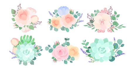 Flowers composition colorful flat vector illustrations set. Wedding and prom boutonniere, bouquets isolated on white background. Floral, floristic design elements collection top view
