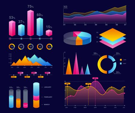 Charts, diagrams and graphs colorful vector illustrations set. Dot, pie and dots bright neon charts collection. Infographics pack. Business marketing, statistics, data analyzation