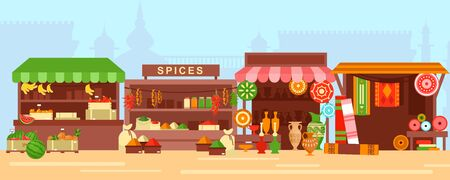 Eastern bazaar, street market flat vector illustration. Empty arabic marketplace panorama with stalls and no people. Fresh fruits, spices, ceramics and rugs sale stands with no merchants Vettoriali