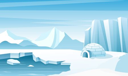 Arctic landscape with ice igloo flat vector illustration. House, hut built of snow. Ice mountains peaks. Eskimo people shelter inhabit. Big iceberg. Snowy north pole winter nature view