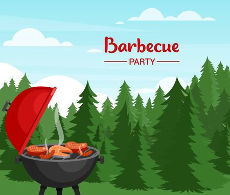 Barbeque party in forest flat vector illustration. Outdoor Bbq banner template with typography. Picnic in wood. Grill with meat and fish. Tasty grilled steak. Family recreation on beautiful nature Standard-Bild - 140195135