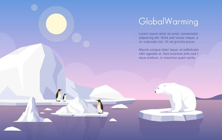 Global warming vector banner template. North Pole, melting glaciers, penguins and polar bear on ice floe flat illustration with text space. Climate change, sea level rise, nature damage.