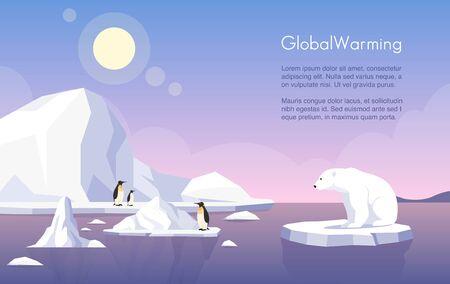 Plantilla de banner de vector de calentamiento global. Polo Norte, glaciares que se derriten, pingüinos y osos polares en la ilustración plana de témpano de hielo con espacio de texto. Cambio climático, aumento del nivel del mar, daños a la naturaleza. Ilustración de vector