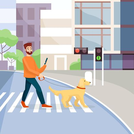 Man crossing street with guide-dog flat vector illustration. Crosswalk, traffic lights green signal. Blind people assistance concept. Guy with pet on pedestrian crossing cartoon character. 일러스트