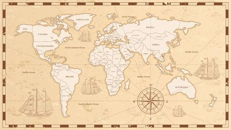 Old world map flat vector illustration. Ancient parchment with countries and oceans names. Vintage document with continents, ships and wind rose drawings. Worldwide geography exploration. Иллюстрация