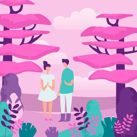 People and nature flat vector illustration. Outing, outdoor recreation, family walk. Young couple in forest, girlfriend and boyfriend, teenagers faceless characters in cartoon style.