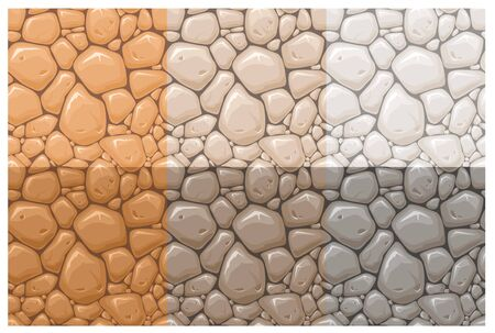 Stone surface vector seamless patterns set. Multicolor rocks, cobblestone textures collection. Orange, brown and grey stone wall background. Vintage wallpaper, creative textile print design. Ilustracje wektorowe