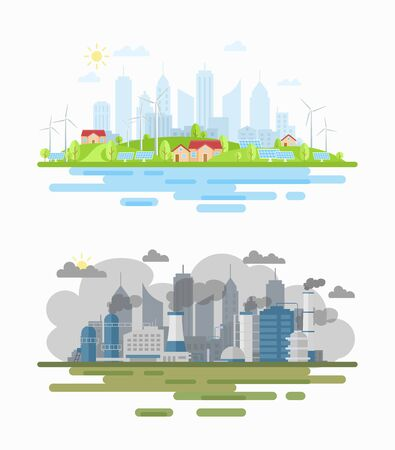 Air pollution city landscape difference flat vector illustration. Environmental damage. Pros of using sustainable, renewable solar and wind energy. Low-emission methods of producing electricity
