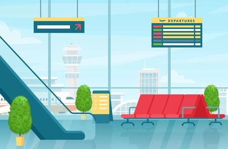 Airport first floor interior flat vector colorful illustration