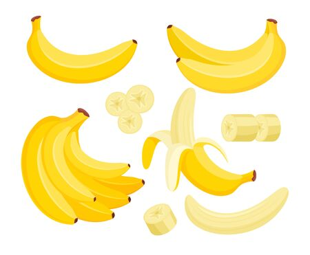 Yellow banana colorful flat vector illustrations set. Exotic, tropical fruit isolated on white background. Peeled and sliced and whole banana. Fresh vegetarian healthy food with vitamins