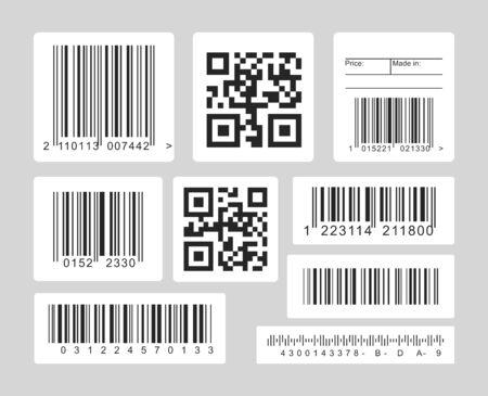 Set di illustrazioni vettoriali in bianco e nero con codice a barre. Codici lineari, uno e dimensionali per scanner ottici, template lettori di codici a barre. Collezione di icone monocromatiche isolata su sfondo grigio