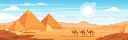 Pyramides en illustration panoramique vectorielle plane du désert. Paysage égyptien sur fond de dessin animé de jour. Caravane de chameaux et paysages de monuments égyptiens. Panorama des animaux africains et des dunes de sable.