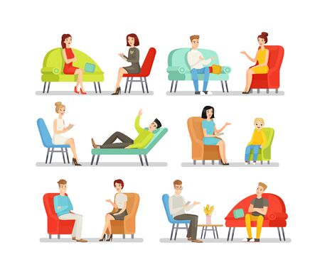 Psychologists flat vector illustrations set. Psychological consultation, psychotherapeutic aid, mental problem solving. Psychotherapists and patients isolated cartoon characters collection.