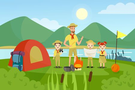 Scouts with teacher flat vector illustration. Camping, outing, summertime activity, recreation, outside leisure. Young campers, man and preschool children characters in cartoon style. Ilustração
