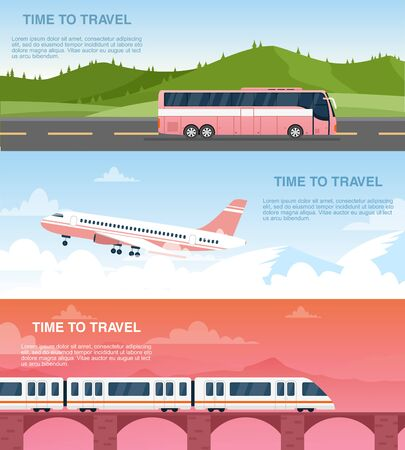 Time to travel web banner vector templates set. Tourist agency advertisement designs pack. Airway, railway and road transportation. Airplane, bus and train cartoon illustrations with text space