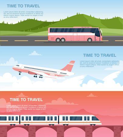 Zeit, Web-Banner-Vektor-Vorlagen zu reisen. Werbedesign-Paket für Reisebüros. Luft-, Bahn- und Straßentransport. Flugzeug-, Bus- und Zugkarikaturillustrationen mit Textraum