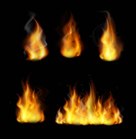 Forks of flame realistic 3d vector illustrations set. Burning yellow bonfire with bright sparks collection isolated on black background. Fireflames collection. Blazing, flaring, ignition.