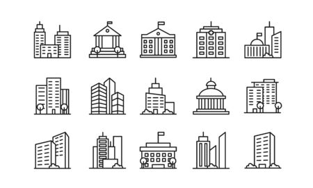 Big city buildings linear icons set. Urban architecture. State institutions, religious and cultural monuments. Educational centres and residential buildings pack isolated on white background