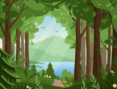 Forest vector landscape flat vector illustration. Woodland scenery, wildlife panorama, lake and mountains, hilly terrain scene. Nature, summertime, rural landscape, green valley panoramic view