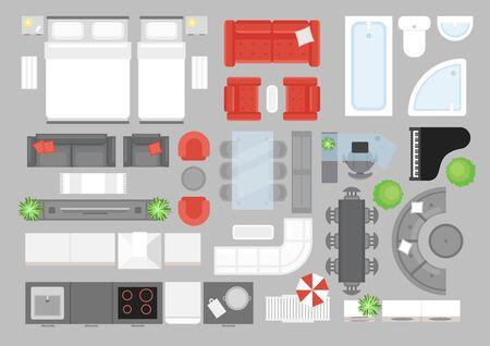 Vektorillustrationssatz Möbel Draufsicht. Gestaltungselemente für die Innenarchitektur. Flache Innenansicht von oben Ikonen-Sammlung. Wohnzimmer, Bad, Schlafzimmermöbel-Set