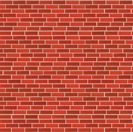 Vector illustration of brick wall seamless pattern, relief texture, red brick background, vintage, loft style